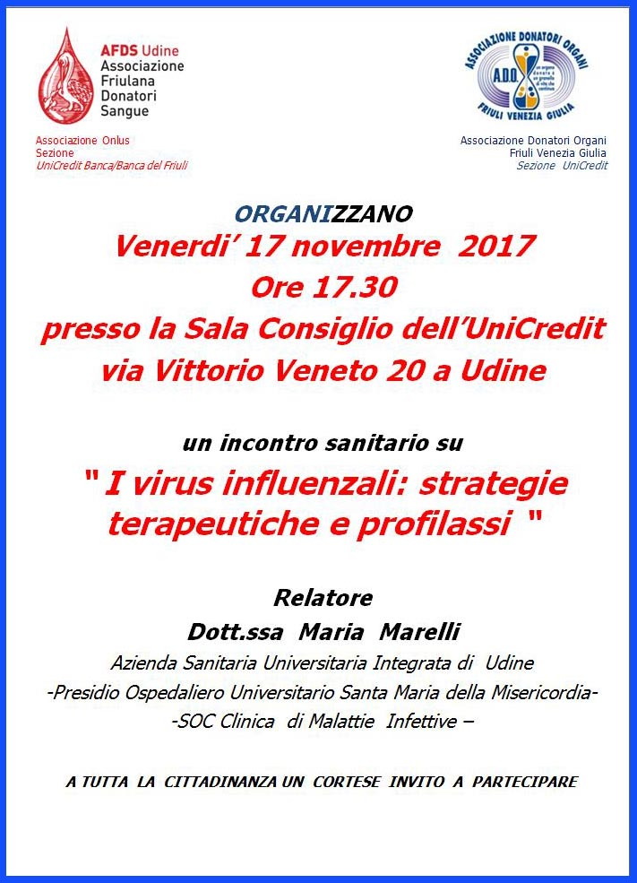 Serata sanitaria ADO-AFDS a Udine - Unicredit 17 nov 2017